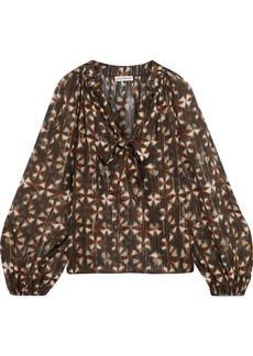 Ulla Johnson Woman Luna Pussy-bow Printed Silk And Lurex-blend Blouse Army Green