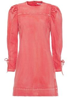 Ulla Johnson Woman Manon Lace-up Faded Denim Mini Dress Papaya