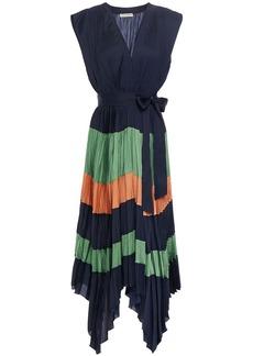 Ulla Johnson Woman Maysha Asymmetric Pleated Color-block Satin Midi Dress Midnight Blue