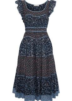 Ulla Johnson Woman Odelia Ruffle-trimmed Floral-print Cotton-blend Midi Dress Navy