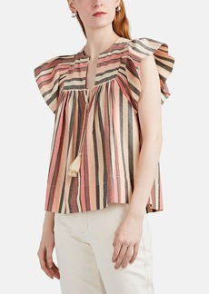 Ulla Johnson Women's Amba Striped Metallic Cotton Top