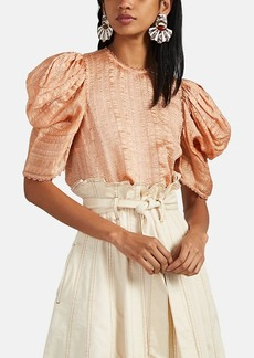 Ulla Johnson Women's Arleigh Cloqué Puff-Sleeve Top