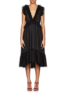 Ulla Johnson Women's Beckett Ruffle-Trimmed Dotted Midi-Dress