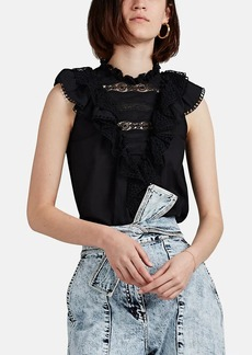 Ulla Johnson Women's Berthe Crochet-Trimmed Cotton-Blend Top