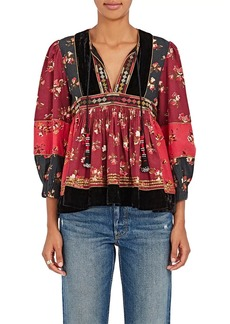 Ulla Johnson Women's Bijana Embroidered Cotton Patchwork Blouse