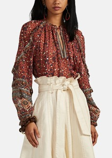 Ulla Johnson Women's Calista Tapestry-Print Georgette Blouse