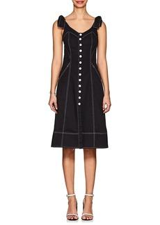 Ulla Johnson Women's Emory Topstitched Denim Button-Down Dress
