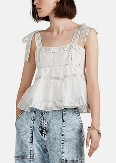 Ulla Johnson Women's Evie Embroidered Cotton-Silk Organza Top