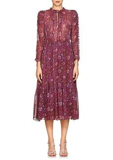 Ulla Johnson Women's Izar Floral Silk Tieneck Maxi Dress