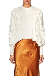 Ulla Johnson Women's Jessamine Ruffle Washed Satin Blouse