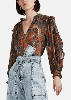 Ulla Johnson Women's Lara Paisley Plissé Blouse