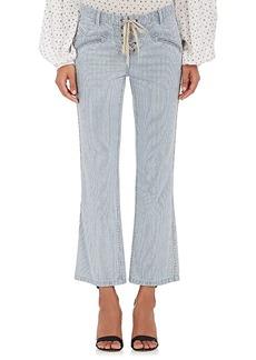 Ulla Johnson Women's Patria Striped Lace-Up Crop Jeans