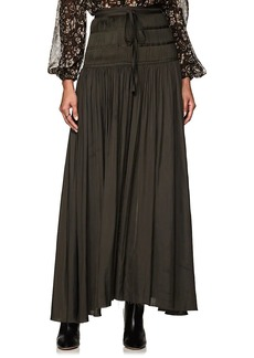 Ulla Johnson Women's Peat Pleated Washed Satin Midi-Skirt