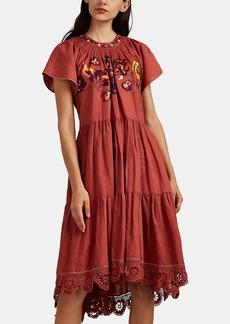 Ulla Johnson Women's Pinar Embroidered Linen-Cotton Dress