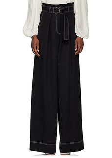 Ulla Johnson Women's Rhodes Topstitched Twill Wide-Leg Pants
