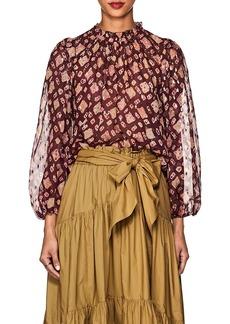Ulla Johnson Women's Sandrine Silk-Blend Fil Coupé Blouse