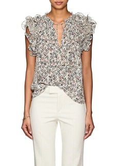Ulla Johnson Women's Tavi Floral Swiss Dot Silk-Blend Blouse