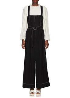 Ulla Johnson Women's Weston Topstitched Twill Wide-Leg Jumpsuit