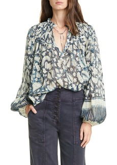 Ulla Johnson Yulia Floral Balloon Sleeve Blouse