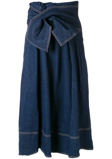 Ulla Johnson wrap waist denim midi skirt