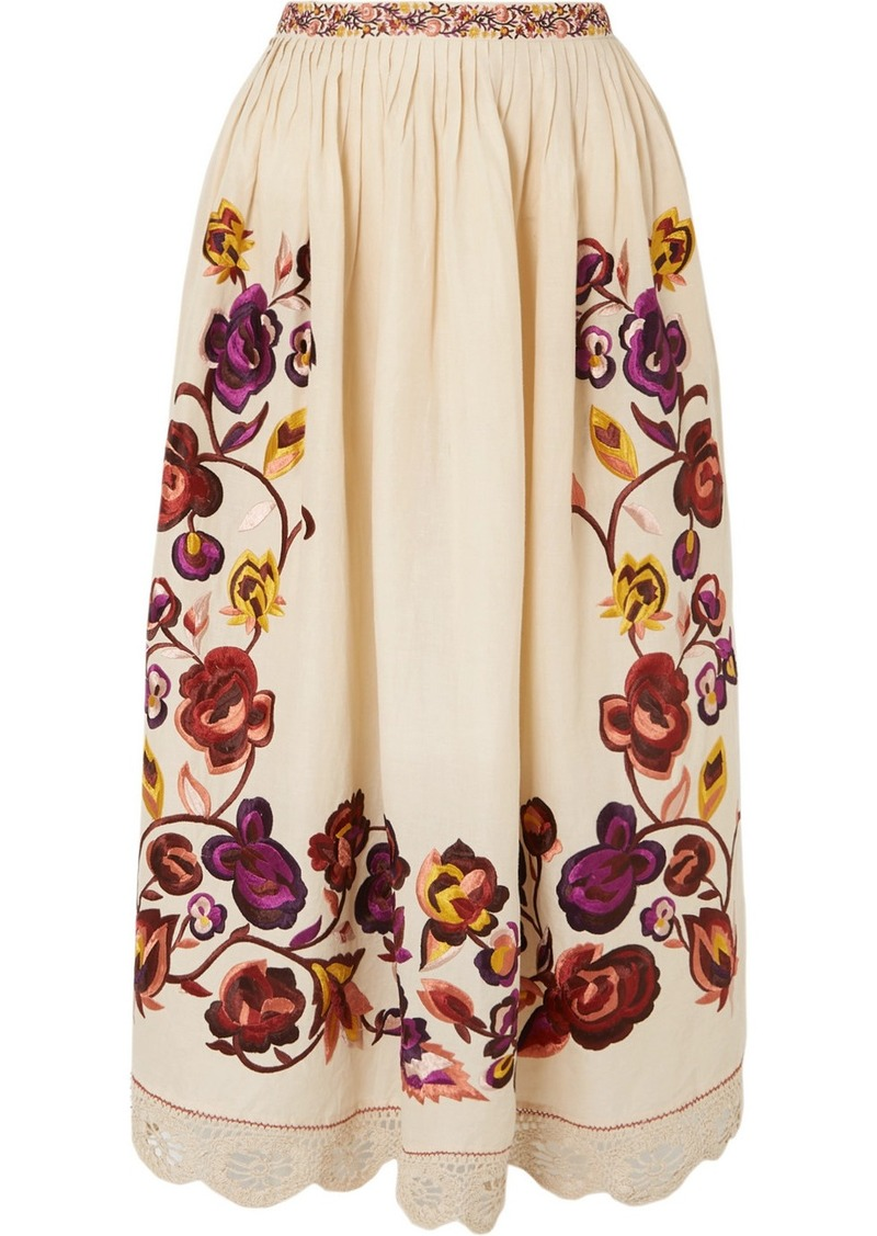 Ulla Johnson Yana Embroidered Linen And Cotton-blend Midi Skirt