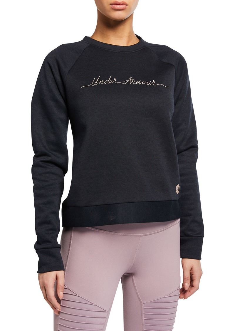 Under Armour Crewneck Recovery Fleece Logo Script Sweatshirt