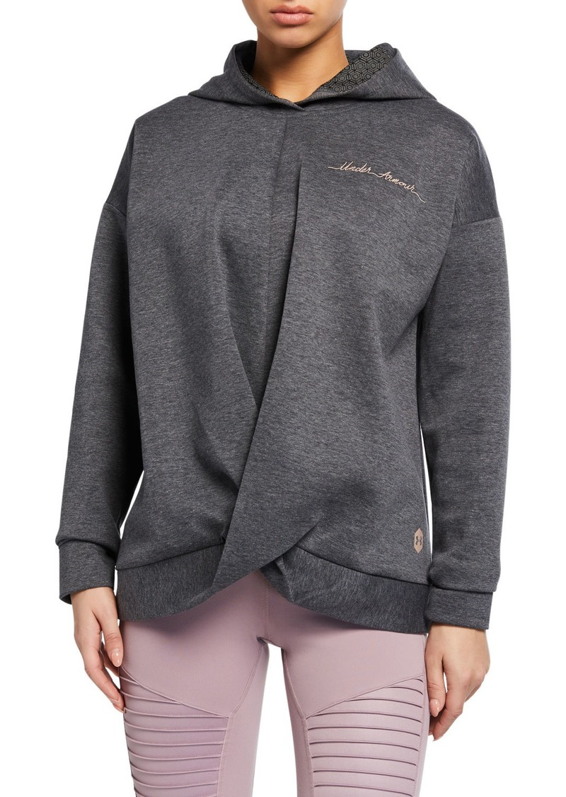 Under Armour Logo Script Recovery Fleece Wrap-Front Hoodie Sweatshirt