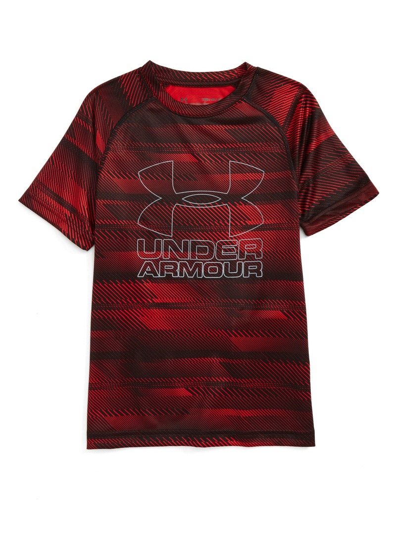 Under armour under armour big logo print t shirt little for Under armour printed t shirts