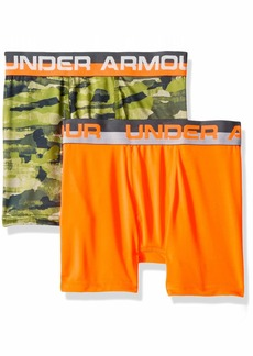 Under Armour Boys' Big 2 Pack Sublimation Print Performance Boxer Briefs Orange Glitch-S19 YMD