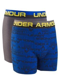Under Armour Boy's Two-Pack Wordmark Cotton Boxer Briefs