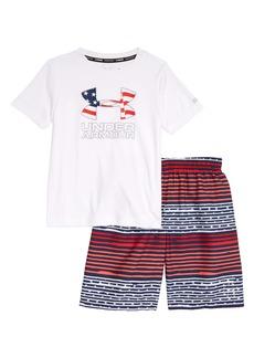 Under Armour Freedom Gradient Stripe Rashguard & Swim Trunks Set (Little Boy)