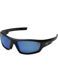 Under Armour Impulse Polarized Sport Sunglasses Shiny Black Frame/Blue Lens one size