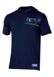 Under Armour Men's Minnesota Timberwolves Baseline Short Sleeve Hooded T-Shirt