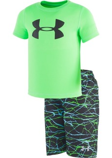 65e0db019e Under Armour Toddler & Little Boys 2-Pc. Rash Guard & Printed Swim Trunks