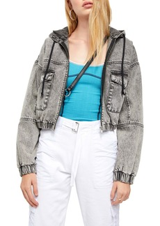 Urban Outfitters Exclusives BDG Urban Outfitters Hooded Crop Denim Jacket