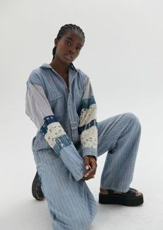 Urban Outfitters Exclusives UO Danielle Patchwork Linen Coverall Jumpsuit