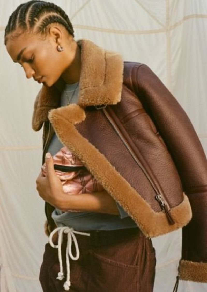 Urban Outfitters Exclusives UO Faux Leather Cropped Aviator Jacket