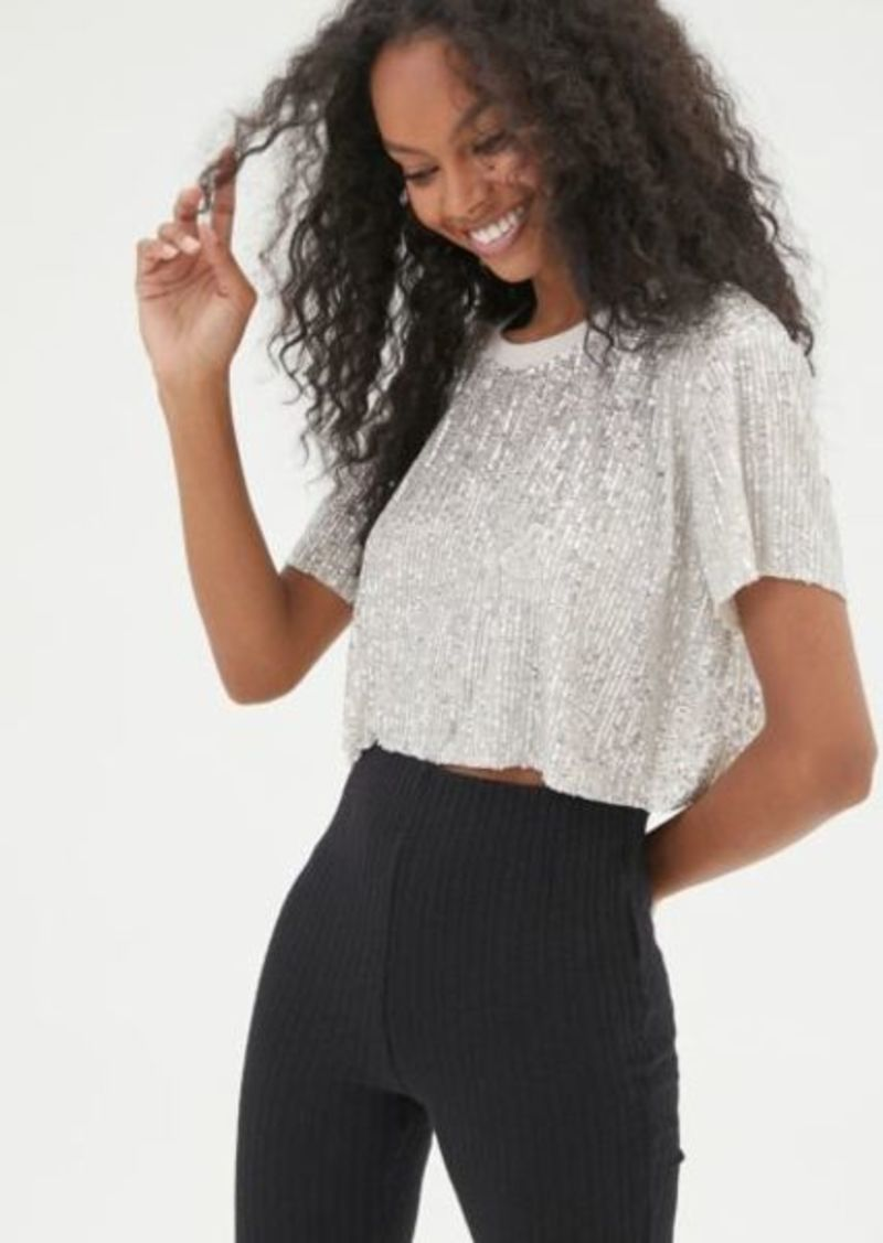 UO West Sequin Cropped Tee