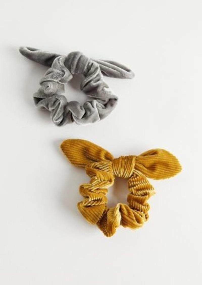 Velvet Bow Scrunchie Set