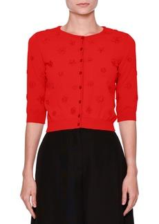 Valentino 3/4-Sleeve Daisy Knit Cardigan