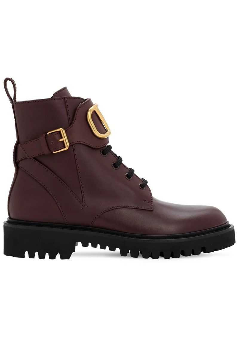 Valentino 35mm Vlogo Leather Combat Boots