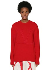 Valentino 3d Embroidered Vlogo Wool Blend Sweater