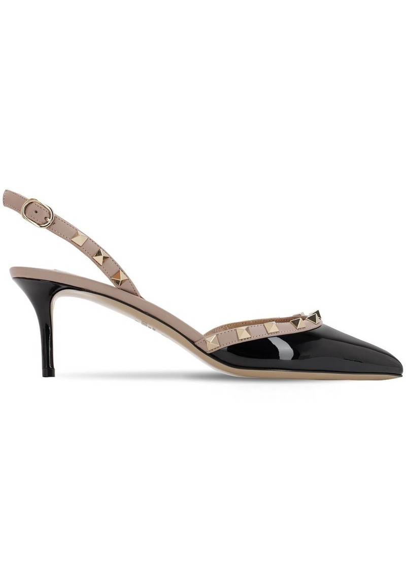 Valentino 60mm Rockstud Patent Sling Back Pumps