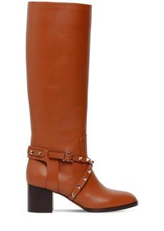 Valentino 60mm Rockstud Tall Leather Boots
