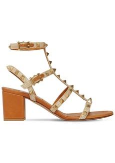 Valentino 60mm Rockstud Woven Textile Sandals