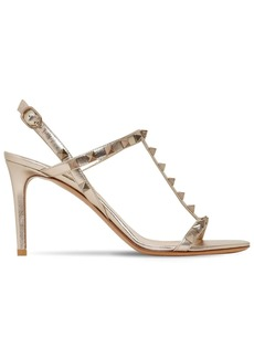 Valentino 85mm Rockstud Metallic Leather Sandals