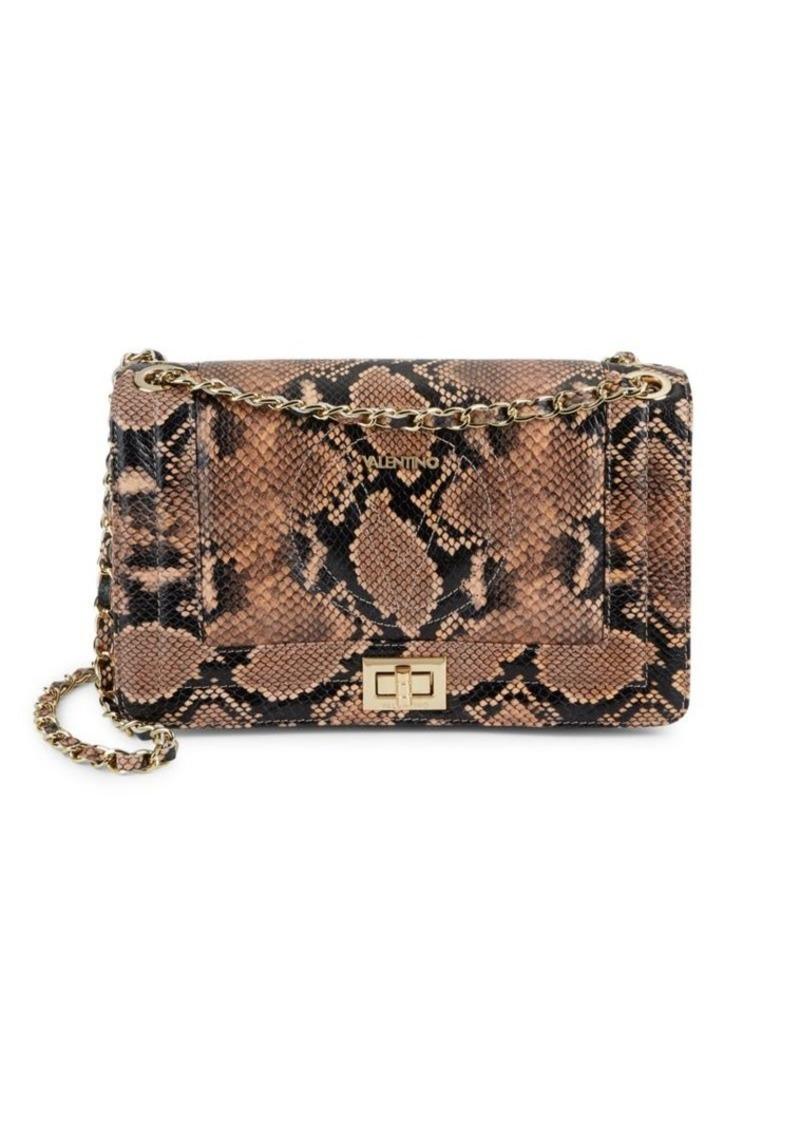 Valentino by Mario Valentino Alice Snakeskin-Embossed Leather Shoulder Bag