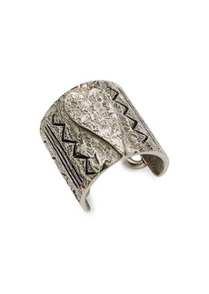 Valentino Antiqued Silvertone Etched Heart Ring