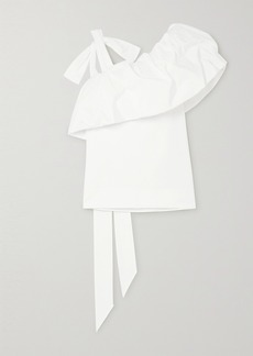 Valentino Asymmetric Gathered Cotton-blend Poplin Top