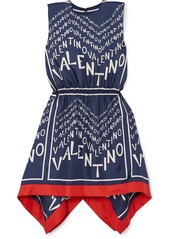 Valentino Asymmetric Printed Silk-twill Mini Dress